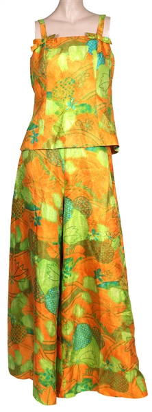 Cher Owned & Worn Vintage 1960s Orange & Green Two-Piece Outfit