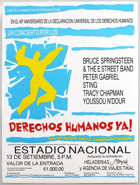 Bruce Springsteen, Peter Gabriel, Sting Amnesty International Human Rights Now Costa Rica Original Concert Poster