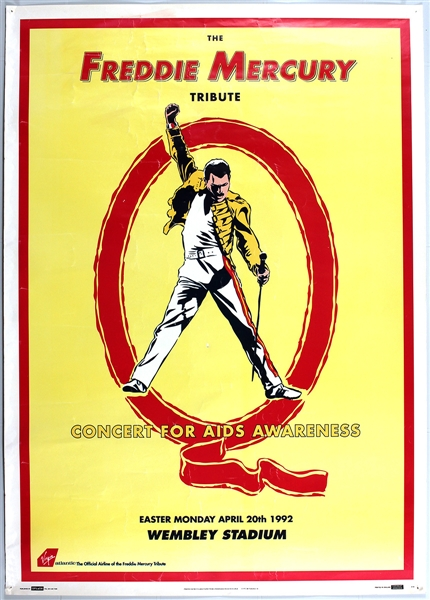 Queen Freddie Mercury Tribute Concert for Aids Awareness Original Poster: U2, Guns N Roses, George Michael, Metallica, Elton John