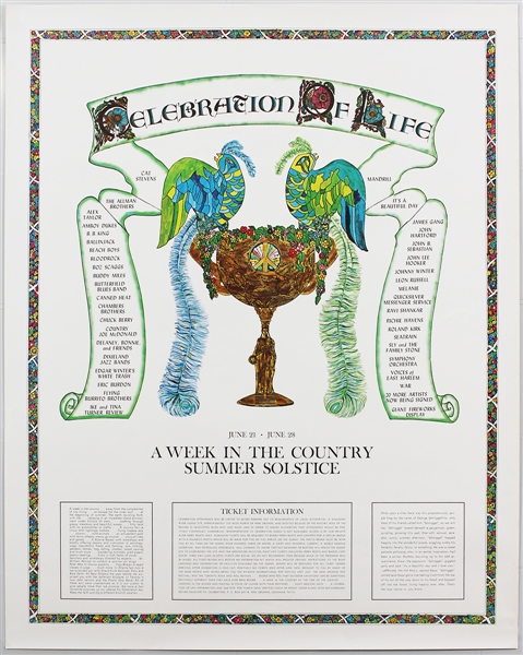 Celebration of Life Music Festival Original 1971 Concert Poster Featuring B.B. King, Sly and the Family Stone, Beach Boys, Allman Brothers and More