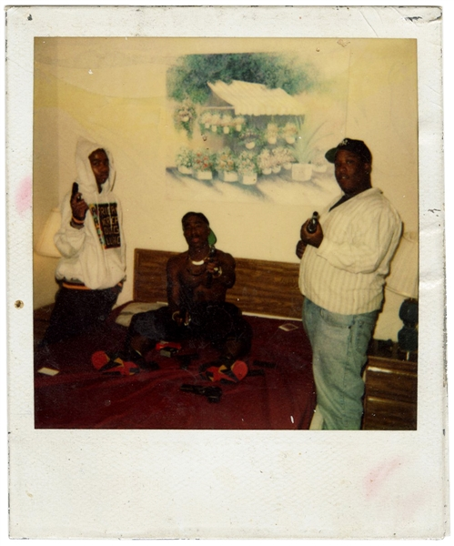 "Tupac Shakur ""Outlaw Immortalz"" Original ""Handgun"" Polaroid Photograph with K. Kastro and E.D.I. Mean"