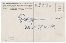 "Robert Ripley Signed and ""Believe It or Not"" Inscribed Postcard JSA Authentication"