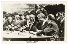 Anwar Sadat and Menachem Begin Signed Camp David Peace Accord Photograph with President Jimmy Carter JSA LOA