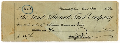 Maxfield Parrish Signed 1898 Land Title and Trust Company Personal Check JSA LOA