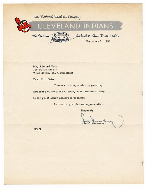 Hank Greenberg Signed Cleveland Browns Letter JSA Authentication