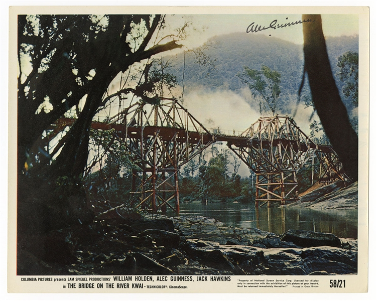 "Alec Guinness Signed Original ""Bridge Over The River Kwai"" Lobby Card (1958) JSA Authentication"