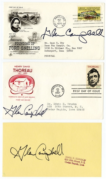 Glen Campbell Signed First Day Covers (2) & Notecard JSA Authentication