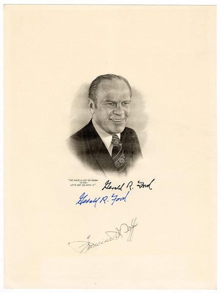 Gerald Ford Signed Etching JSA LOA