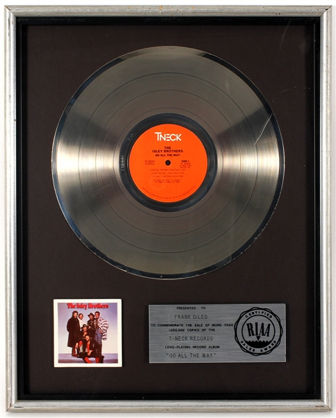 "Isley Brothers ""Go All The Way""  Original RIAA Platinum Record Album Award Presented to Frank DiLeo"