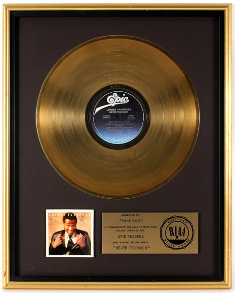 "Luther Vandross ""Never Too Much"" Original RIAA Gold Record Album Award Presented to Frank DiLeo"