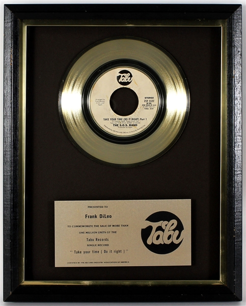 "The S.O.S. Band ""Take Your Time (Do It Right)"" Original Tabu Records In-House Gold Single Record Award Presented to Frank DiLeo"