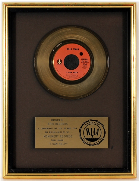 "Billy Swan ""I Can Help"" Original RIAA Gold Single Record Award Presented to Frank DiLeo"
