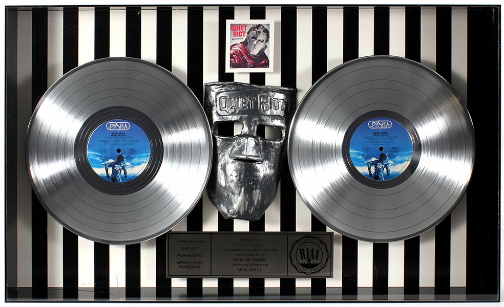 "Quiet Riot ""Metal Health"" Original RIAA Multi-Platinum Record Album Award Display Presented to Frank DiLeo"