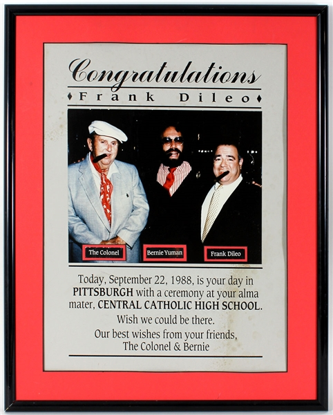 Michael Jackson Manager Frank DiLeos Original Pittsburgh Central Catholic High School Alma Mater Award