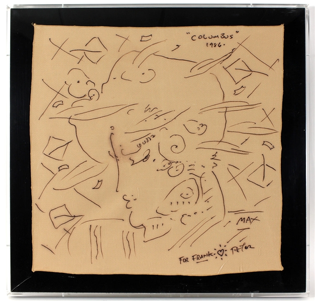 "Peter Max Original ""Columbus 1986"" Titled, Signed and Inscribed Hand Drawing Given to Frank DiLeo"