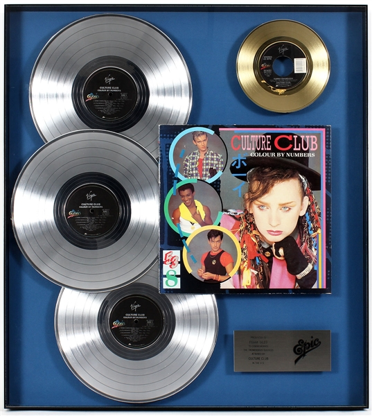 "Culture Club ""Colour By Numbers"" Original Epic Records Platinum and Gold Record Award Display Presented to Frank DiLeo"