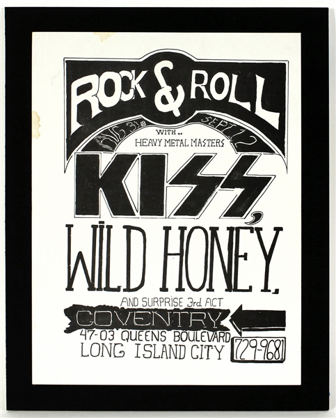 KISS Original Early 1973 Coventry Concert Poster Hand Drawn by Paul Stanley