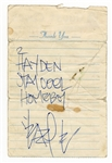 Eazy-E (Eric Wright) Handwritten and Signed Note PSA/DNA LOA