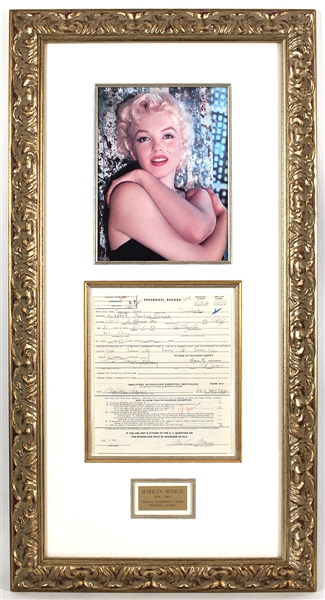Marilyn Monroe Signed (4X) Norma Jeanne Personnel Employment Record JSA LOA