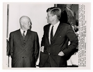 John F. Kennedy and Dwight D. Eisenhower Original White House UPI Wire Photograph Stamped on the Verso