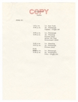 Jacqueline Kennedy Original File Copy of Her June 27, 1960 Schedule