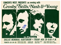 Crosby, Stills, Nash and Young Original Concert Flyer Signed by Stephen Stills