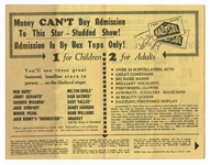 Hank Williams Circa 1950s Hadacol Caravan Show Original Concert Flyer Also Featuring Bob Hope, Rudy Vallee and More!