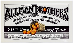 The Allman Brothers Band Original 20th Anniversary Tour Concert Poster Signed by Randy Tuten