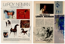 LeRoy Neiman Signed Magazine Illustrations (2) Beckett COA
