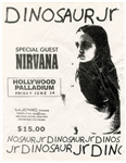 Rare Nirvana and Dinosaur Jr. Original 1991 Hollywood Palladium Concert Handbill