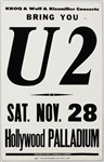 U2 Original 1981 Hollywood Palladium Boxing Style Cardboard Concert Poster