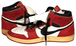 Michael Jordan 1985-86 Game Worn and Signed Post-Injury Modification Air Jordan 1 Sneakers