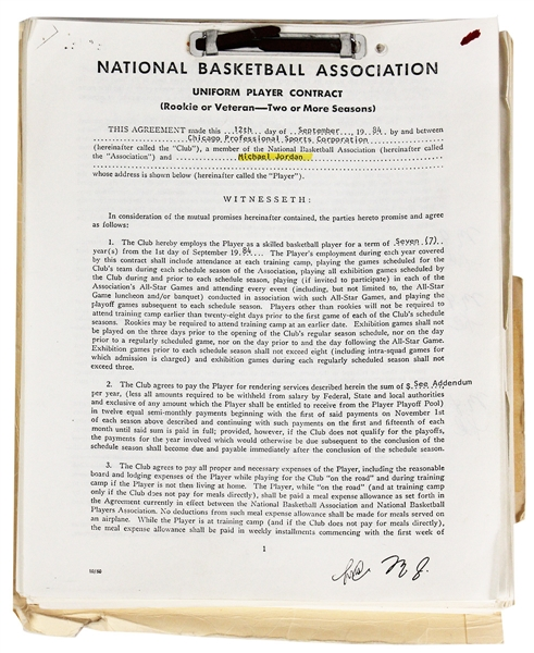 Michael Jordan's September 12, 1984 Annotated File Copy Rookie Contract Plus His 1988 Contract Signed or Initialed Over 55 Times