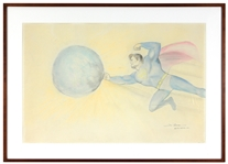 "Joe Shuster Signed Large Vintage Original ""Superman"" Color Artwork Drawing"