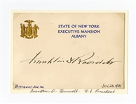 Franklin D. Roosevelt Signed New York Executive Mansion Signature Card JSA LOA