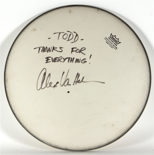 Alex Van Halen Stage Used and Signed Drumhead