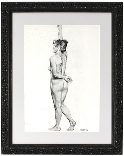 Kanye West 1996 Hand Drawn and Signed Nude Sketch