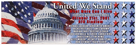 "Michael Jackson ""United We Stand"" 9/11 Concert Benefit Poster Also Featuring Aerosmith, James Brown and More"