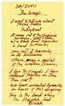 "Jim Morrison Handwritten Lyrics for ""The WASP (Texas Radio and the Big Beat)"""