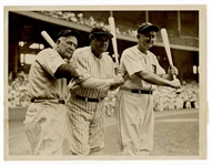 Babe Ruth, Ty Cobb and Tris Speaker Original Wire Stamped Photograph