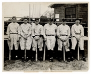 1931 New York Yankees Outfielders with Babe Ruth Original Wire Photograph