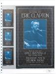 Eric Clapton 2001 Dallas Reunion Arena Original Uncut Concert Poster and Handbill Sheet Signed by Artist David Dean