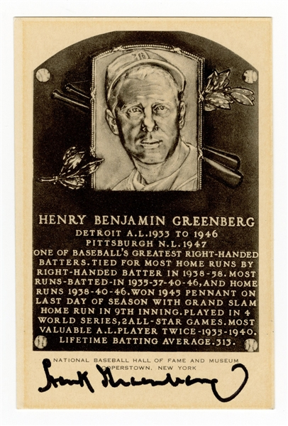 Hank Greenberg Signed Hall of Fame Postcard JSA LOA