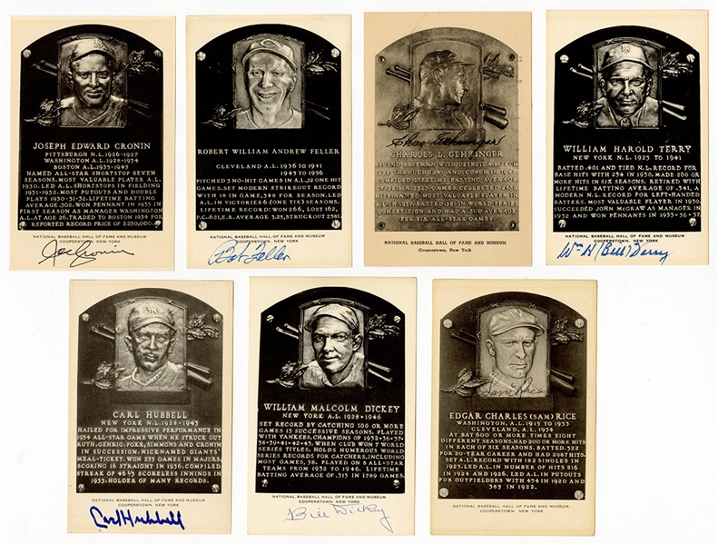 7 Signed Hall of Fame Postcard Plaques