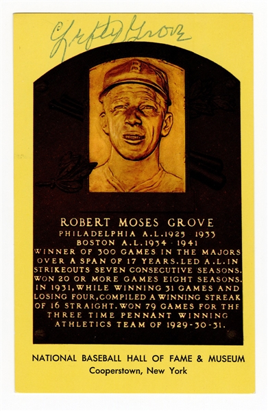 "Robert Moses ""Lefty"" Grove Signed Hall of Fame Postcard Plaque JSA LOA"