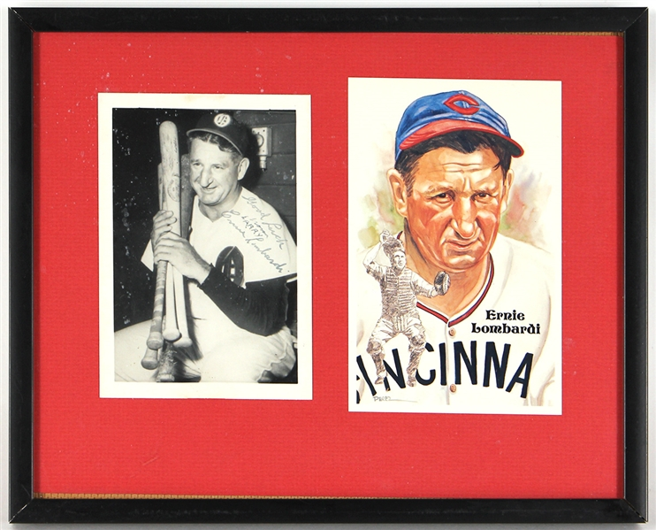 Ernie Lombardi Signed Framed Display