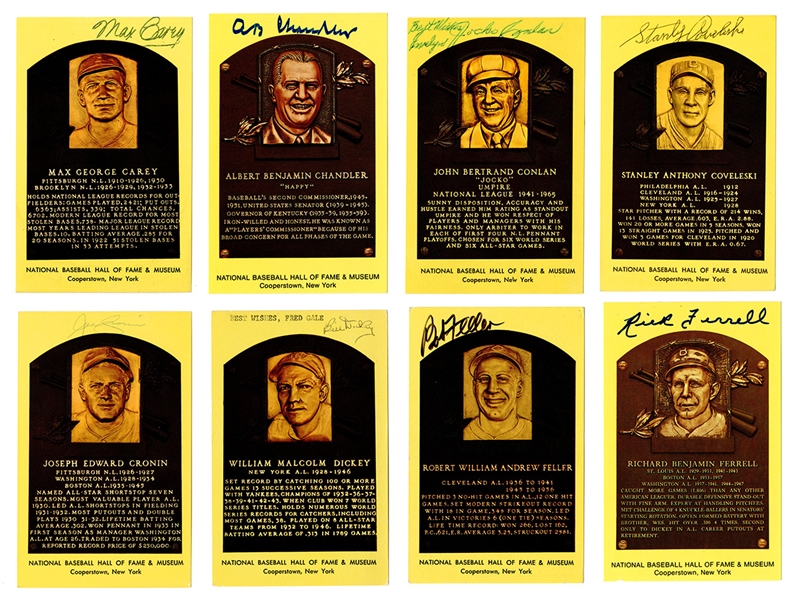 Group of 42 Signed Baseball Hall of Fame Plaques