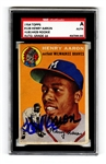 1954 Topps Hank Aaron #128 Signed Rookie Card SGC MINT 10 Signature