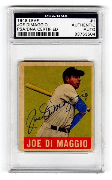 1948 Leaf Joe DiMaggio Autographed PSA/DNA Authentic