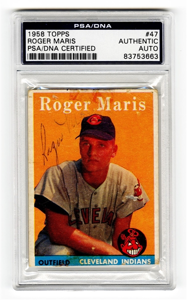 1958 Topps Roger Maris Signed Rookie Card #47 (PSA/DNA Authentic)